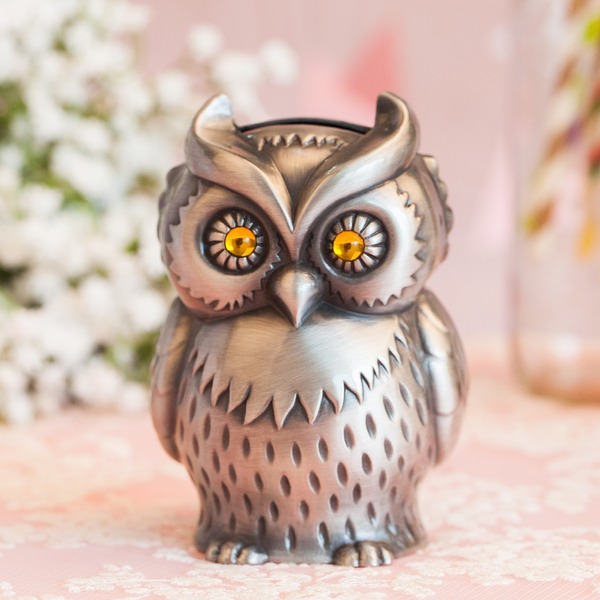 Enastående Owl Formad Tennlegering spargris