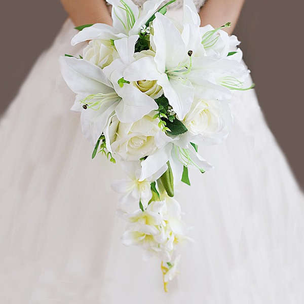 Comely Cascade Cloth Bridal Bouquets -