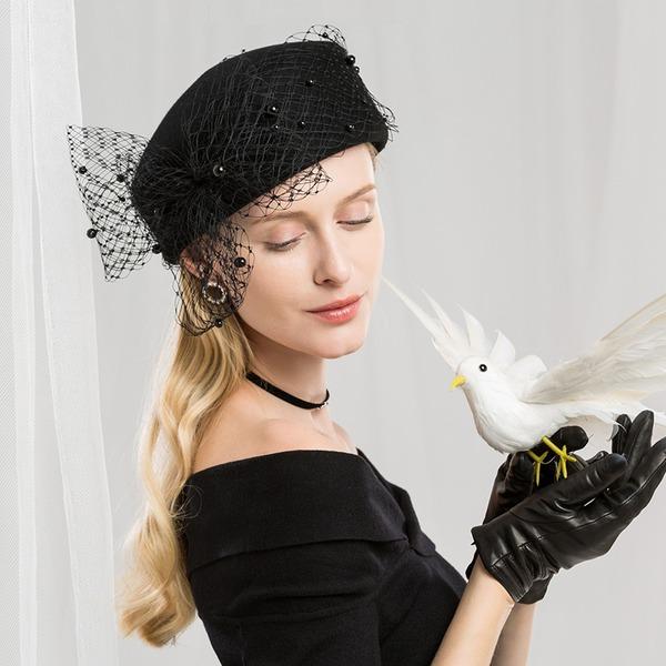 Bayanlar Muhteşem/Moda/Glamourous Yün Ile Tül Bere Şapka