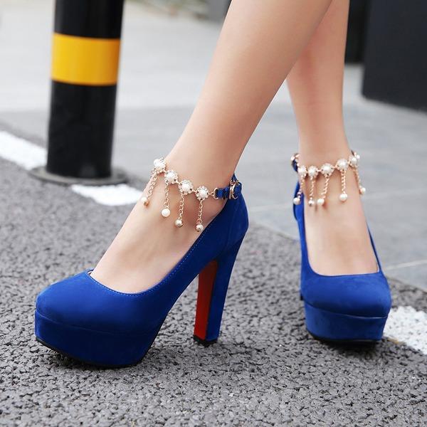 Frauen Veloursleder Stämmiger Absatz Absatzschuhe Plateauschuh Geschlossene Zehe mit Quaste Schuhe