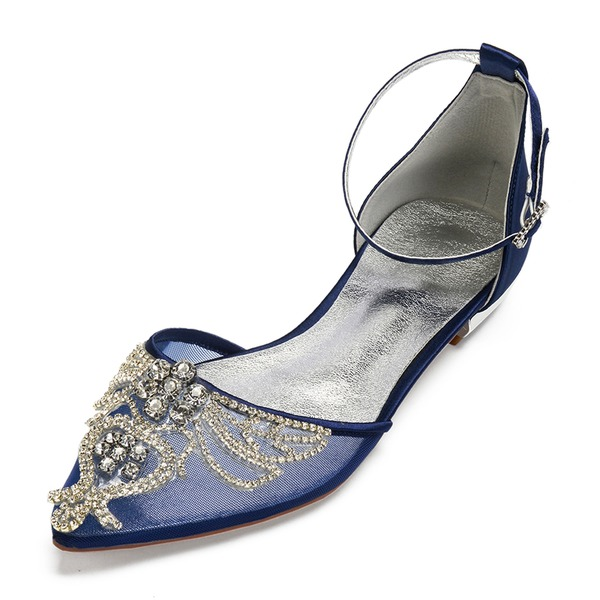 Frauen Seide wie Satin Mesh Flascher Absatz Flache Schuhe Sandalen mit Strass Hohl-out Blume
