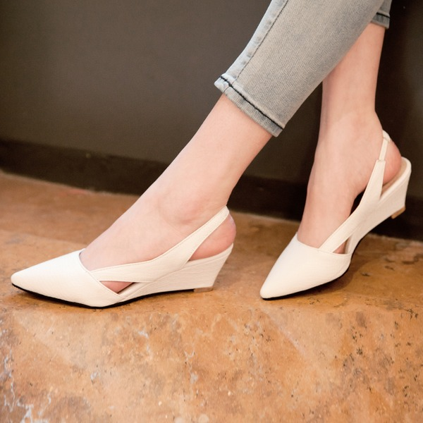 Women's Leatherette Wedge Heel Pumps Wedges With Others shoes