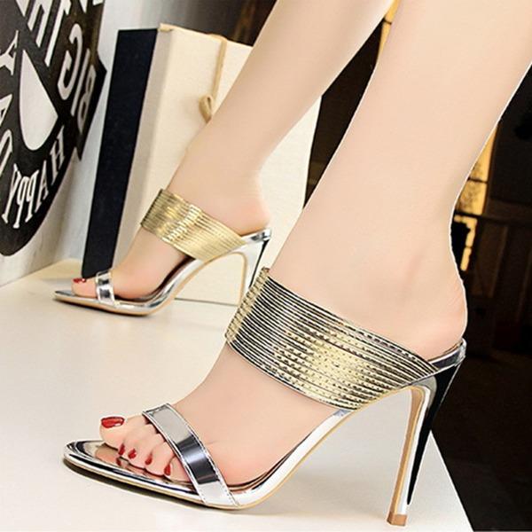 Femmes Cuir verni Talon stiletto Sandales Escarpins À bout ouvert avec Autres chaussures