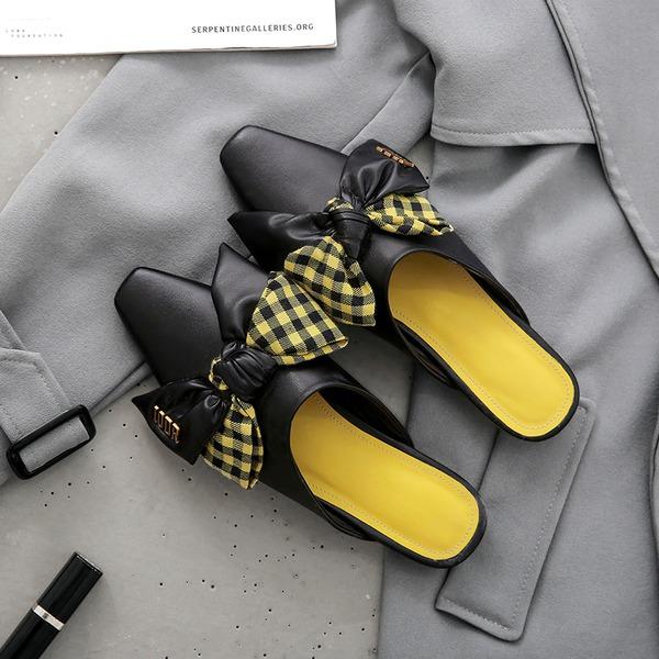 Kvinner PU Lav Hæl Flate sko Tøfler med Annet sko