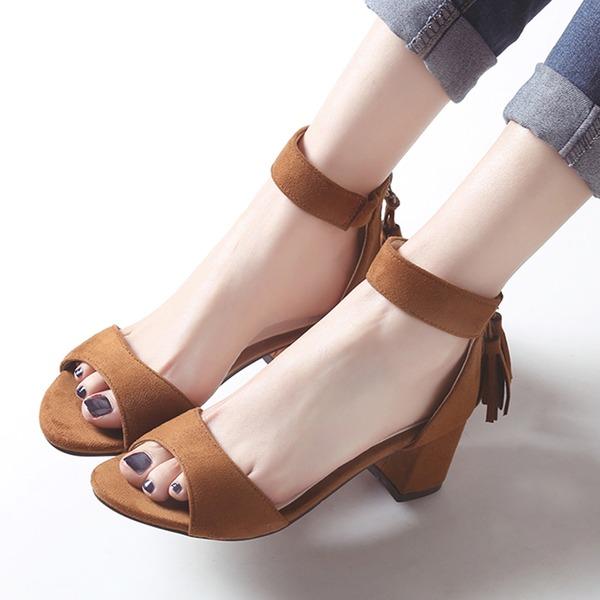 Kvinder Ruskind Stor Hæl sandaler Kigge Tå med Lynlås Tassel sko