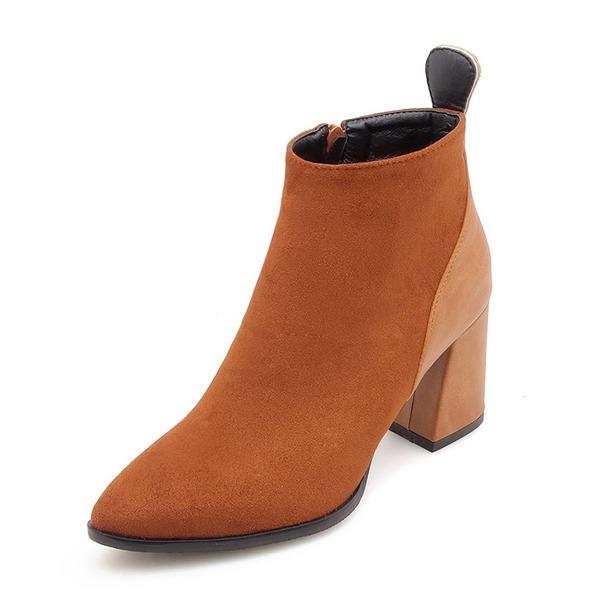 Donna Camoscio Tacco spesso Punta chiusa Stivali Stivali alla caviglia con Cerniera scarpe