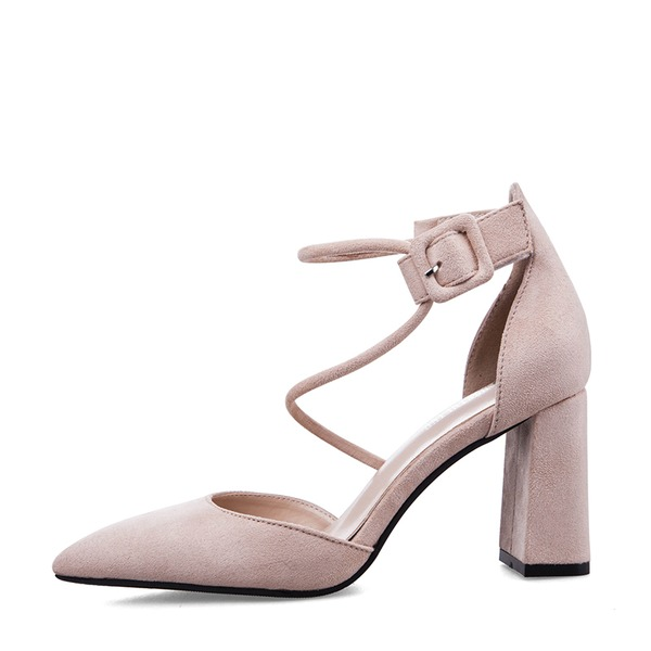 Women's Suede Chunky Heel Sandals Pumps Closed Toe With Buckle shoes