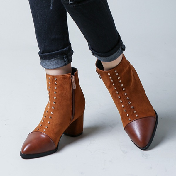 De mujer Ante Tacón ancho Salón Botas Botas longitud media con Rivet zapatos