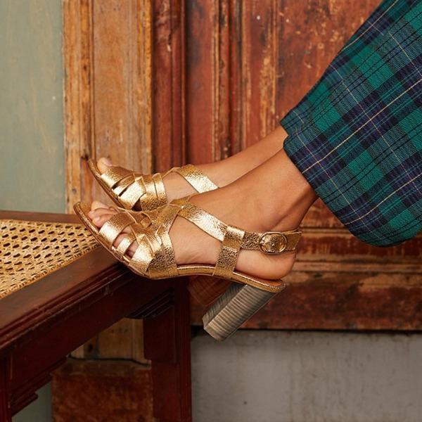Donna PU Tacco spesso Sandalo con Cava-out scarpe