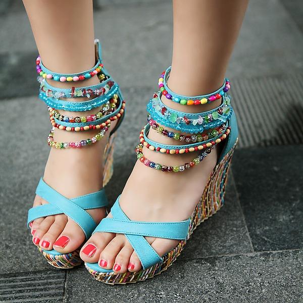 Naisten Keinonahasta Wedge heel Sandaalit jossa Jäljitelmä Helmi Vetoketju kengät
