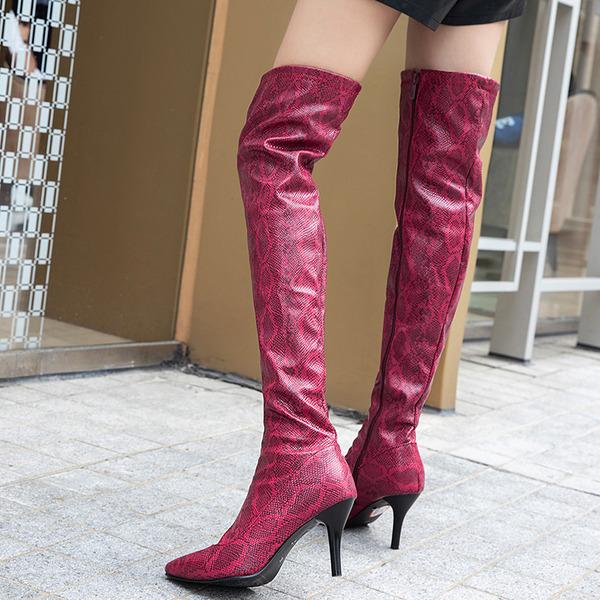 Vrouwen Kunstleer Stiletto Heel Pumps Laarzen Over De Knie Laarzen schoenen