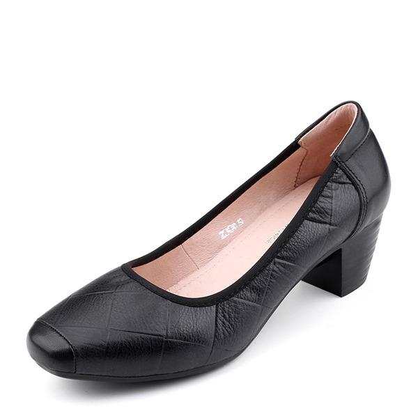 Kvinder Ægte Læder Stor Hæl Pumps Lukket Tå sko