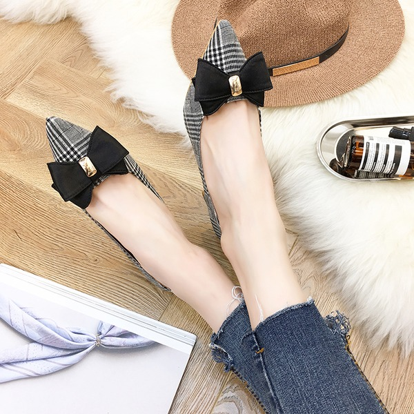 Women's PU Chunky Heel Pumps Closed Toe With Bowknot shoes