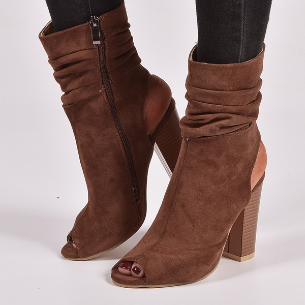 Women's Suede Chunky Heel Pumps Boots Peep Toe Slingbacks With Zipper shoes