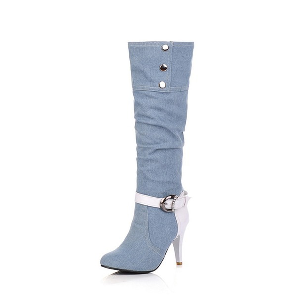 Women's Denim Stiletto Heel Pumps Boots Knee High Boots With Rhinestone Buckle shoes