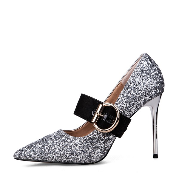Women's Sparkling Glitter Spool Heel Closed Toe Pumps With Buckle Others