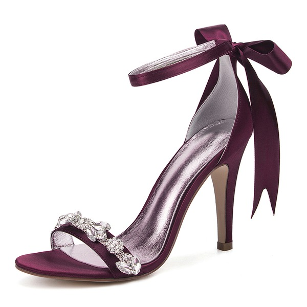 Women's Silk Like Satin Stiletto Heel Peep Toe Pumps Sandals With Rhinestone Ribbon Tie Lace-up