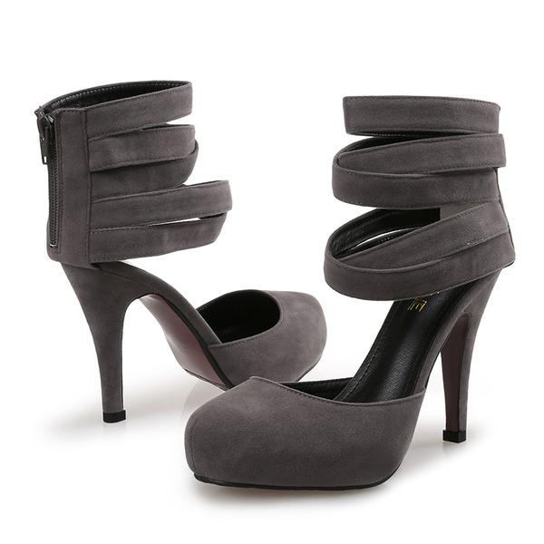 Femmes Velours Talon stiletto Escarpins avec Zip chaussures