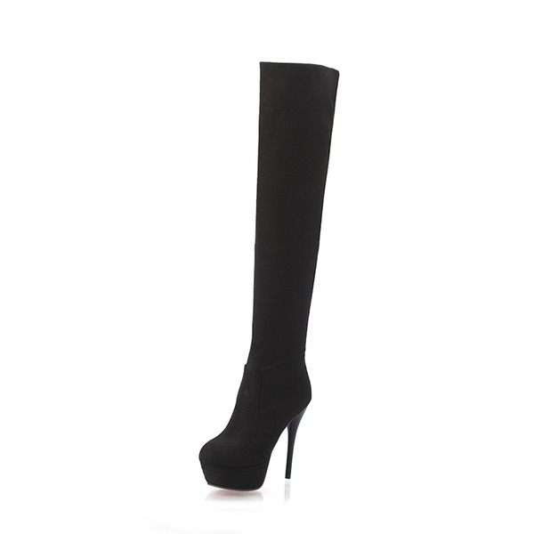 Women's Suede Stiletto Heel Pumps Platform Boots Knee High Boots shoes