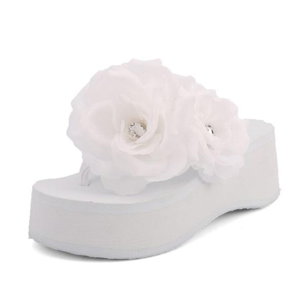 Naisten Kankaalla Wedge heel Sandaalit Varvastossut jossa Kukka kengät