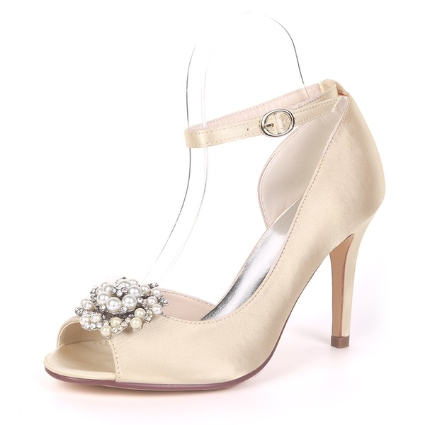 Women's Silk Like Satin Stiletto Heel Pumps With Imitation Pearl Rhinestone