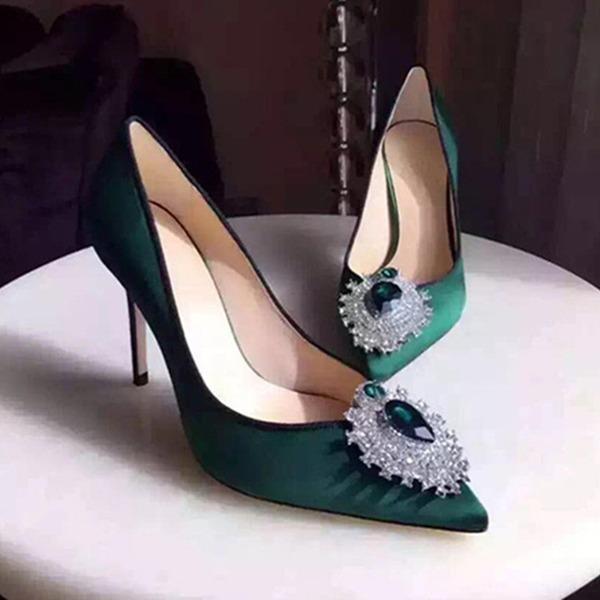 Dla kobiet Jedwab Obcas Stiletto Czólenka Zakryte Palce Z Stras/ Krysztal Górski obuwie