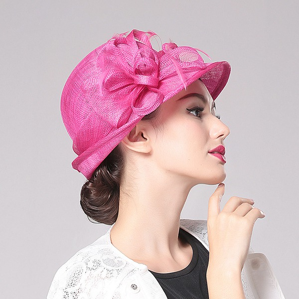 Ladies' Classic/Elegant Linen With Flower Bowler/Cloche Hat