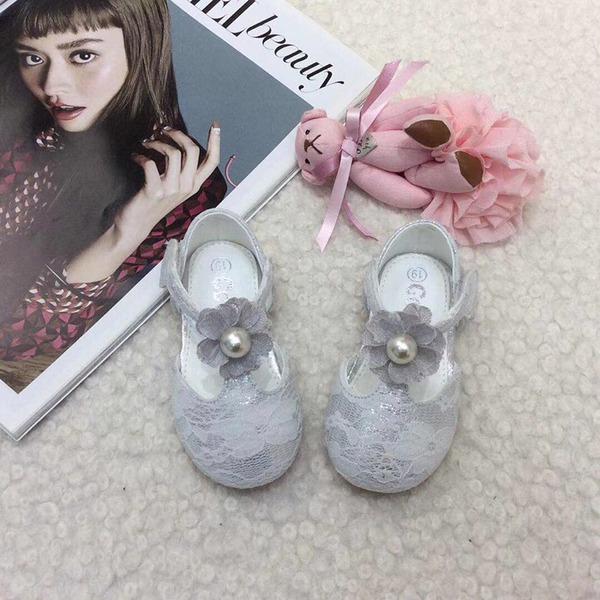 bébé de bout rond Ballet plat Dentelle talon plat Chaussures plates Chaussures de fille de fleur avec Perle d'imitation Velcro Une fleur