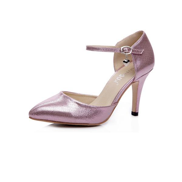 кожа Высокий тонкий каблук На каблуках Закрытый мыс с пряжка обувь