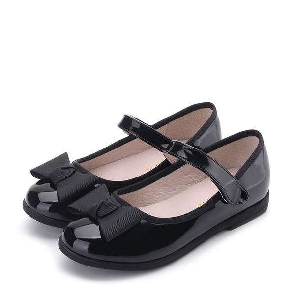 Jentas Lukket Tå Microfiber Lær flat Heel Flate sko Flower Girl Shoes med Bowknot Velcro