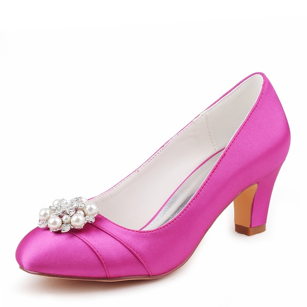 Women's Silk Like Satin Stiletto Heel Closed Toe Pumps With Crystal Pearl