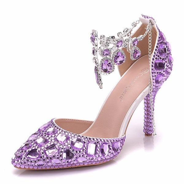 Kvinder Kunstlæder Stiletto Hæl sandaler Pumps med Rhinsten Kæde sko