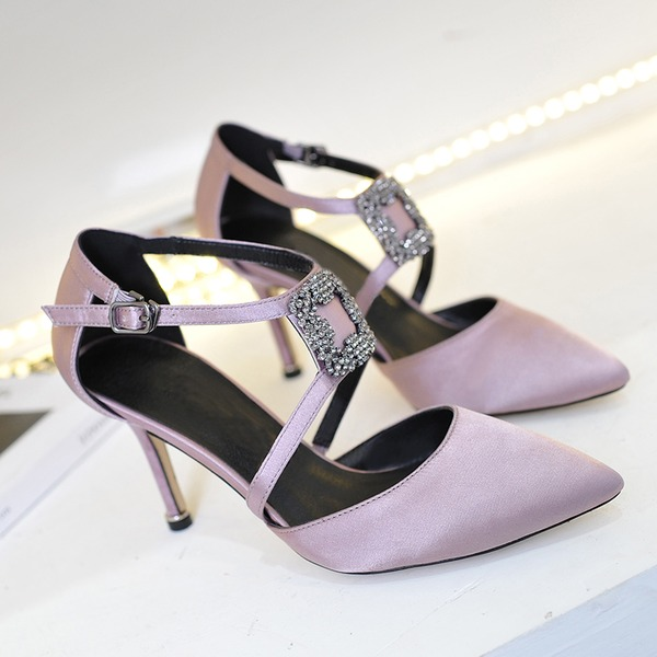 Frauen Satin Stöckel Absatz Absatzschuhe Schuhe