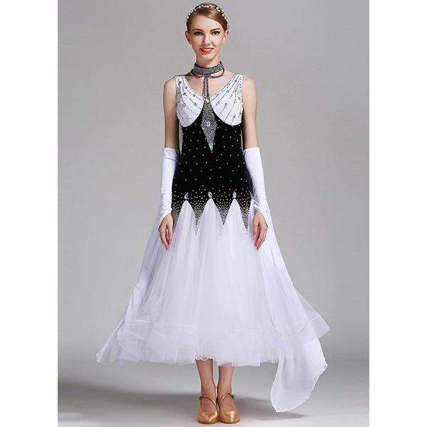 De mujer Ropa de danza Lírica Terciopelo Desempeño Sala de Baile Vestidos