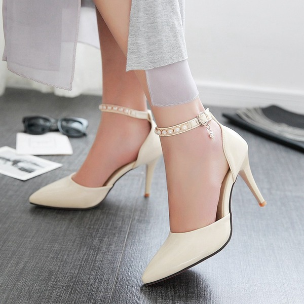 Women's Leatherette Stiletto Heel Sandals Pumps With Imitation Pearl Buckle shoes
