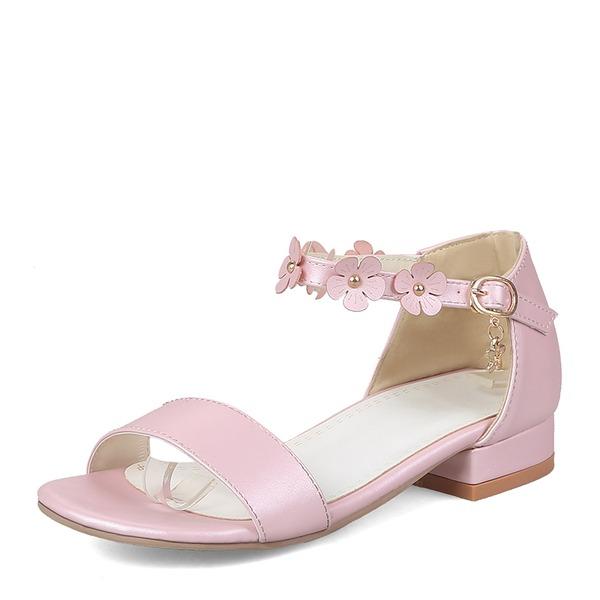 Frauen PU Flascher Absatz Sandalen Flache Schuhe Peep Toe mit Blume Schuhe