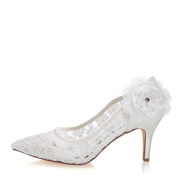 Women's Lace Silk Like Satin Stiletto Heel Pumps With Flower Crystal