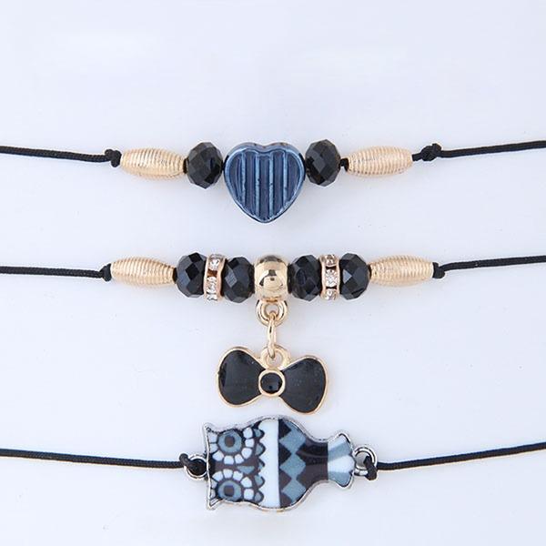 Gentil Alliage Corde tressée Femmes Bracelets de mode (Lot de 3)