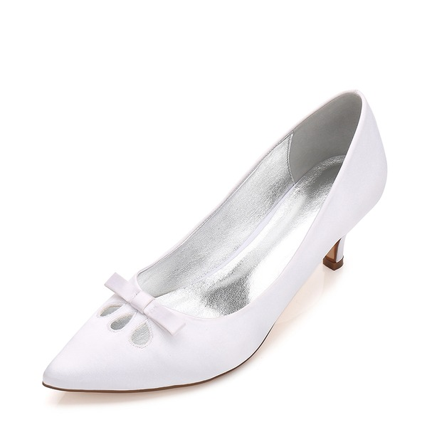 Women's Silk Like Satin Stiletto Heel Closed Toe Pumps With Bowknot