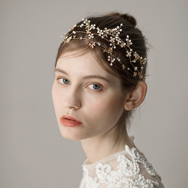 Ladies Exquisite Alloy Headbands With Venetian Pearl (Sold in single piece)