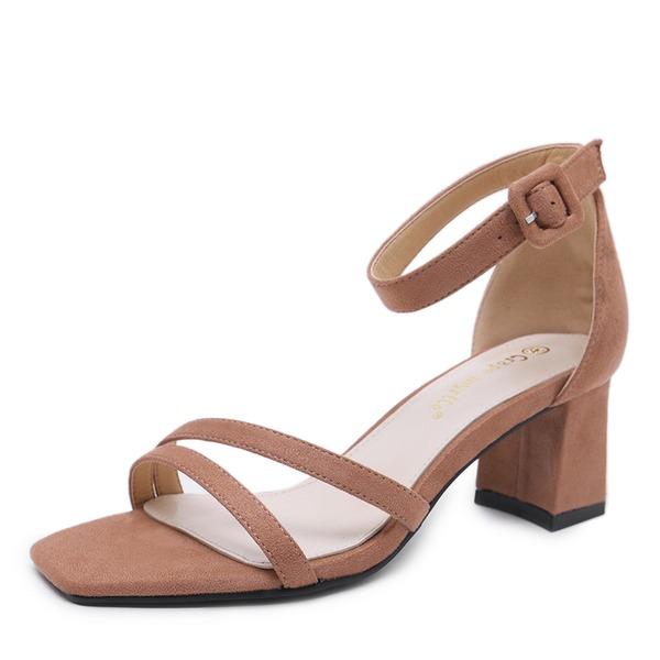 Frauen Veloursleder Stämmiger Absatz Sandalen Absatzschuhe Peep Toe mit Schnalle Schuhe
