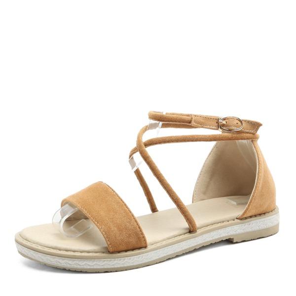 Mulheres Camurça Sem salto Sandálias Sem salto Peep toe com Fivela sapatos