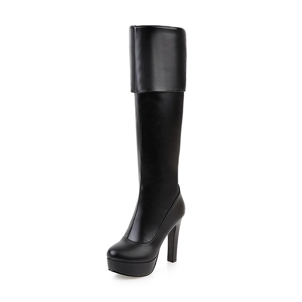 Women's PU Stiletto Heel Pumps Closed Toe Boots Over The Knee Boots With Zipper shoes