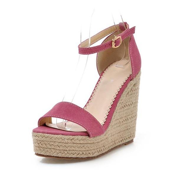 Camurça Plataforma Sandálias com Fivela sapatos