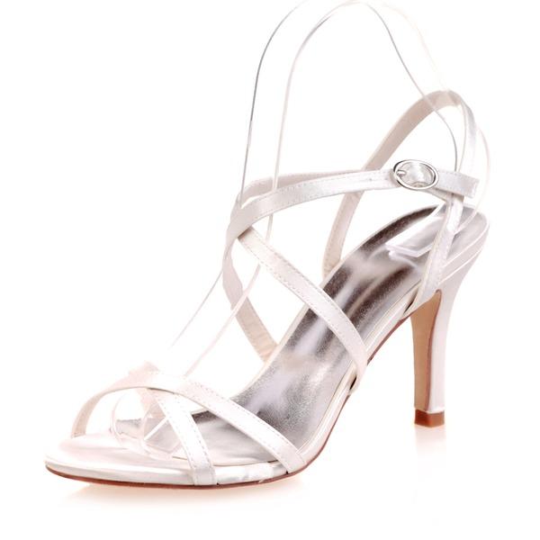Women's Satin Stiletto Heel Peep Toe Sandals With Buckle