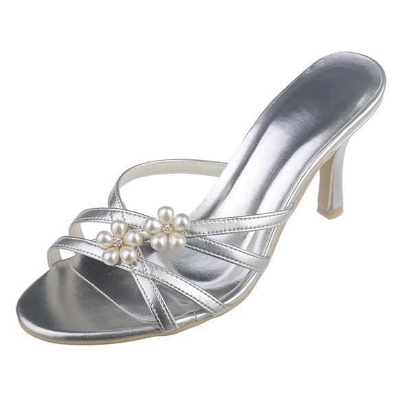 Kvinnor Konstläder Stilettklack Peep Toe Pumps Sandaler med Oäkta Pearl