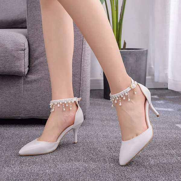 Kids' Leatherette Stiletto Heel Closed Toe Pumps Sandals MaryJane With Imitation Pearl Tassel Chain