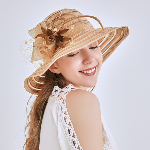 Ladies' Simple/Fancy Net Yarn With Flower Beach/Sun Hats/Kentucky Derby Hats/Tea Party Hats