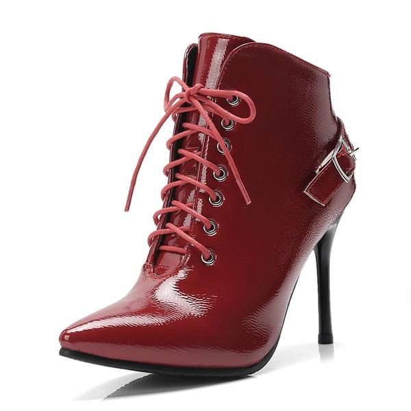 Kvinner Lær Stiletto Hæl Pumps Støvler Ankelstøvler med Blondér sko