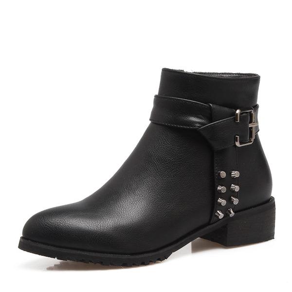 Femmes PU Talon bas Bottes Bottines avec Rivet Boucle Zip chaussures